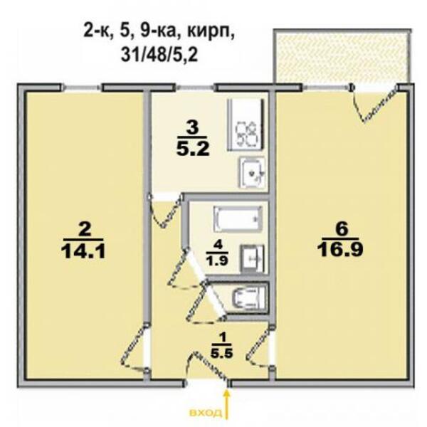 квартиру, 1 комн, Харьков, Салтовка, Велозаводская (292741 1)