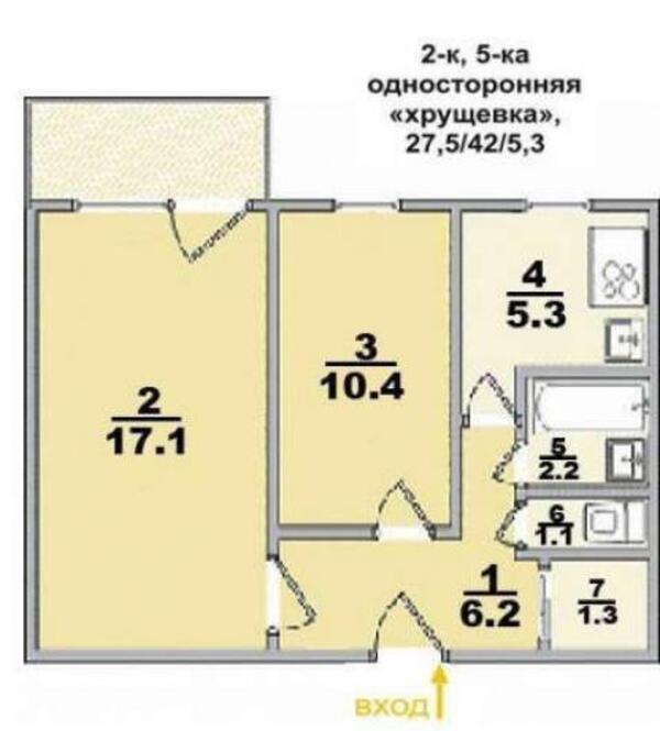 2 комнатная квартира, Харьков, Салтовка, Юбилейный пр. (50 лет ВЛКСМ пр.) (426700 1)
