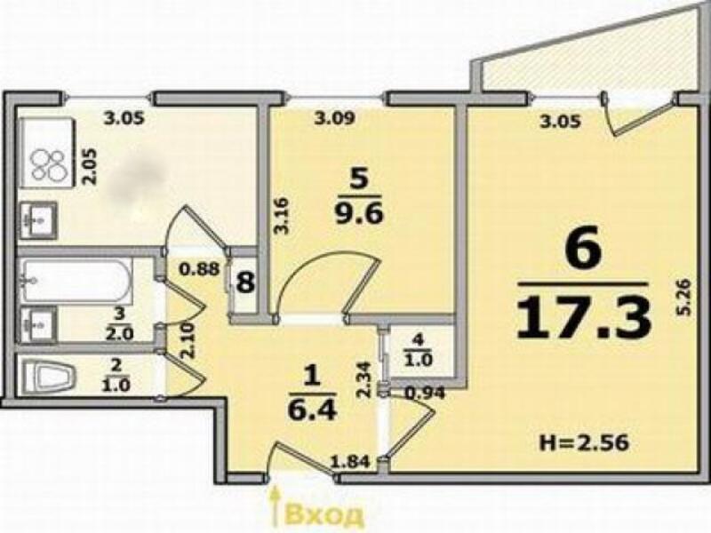 2 комнатная квартира, Харьков, Павлово Поле, 23 Августа (Папанина) (433519 1)