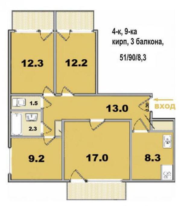 квартиру, 3 комн, Харьков, Масельского метро, Северный пер. (437946 1)