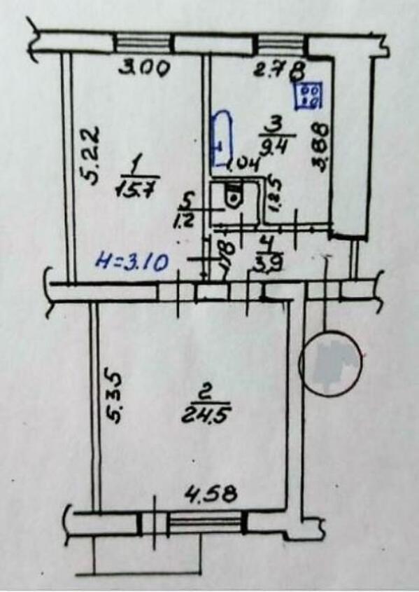 3 комнатная квартира, Харьков, Северная Салтовка, Метростроителей (443048 1)