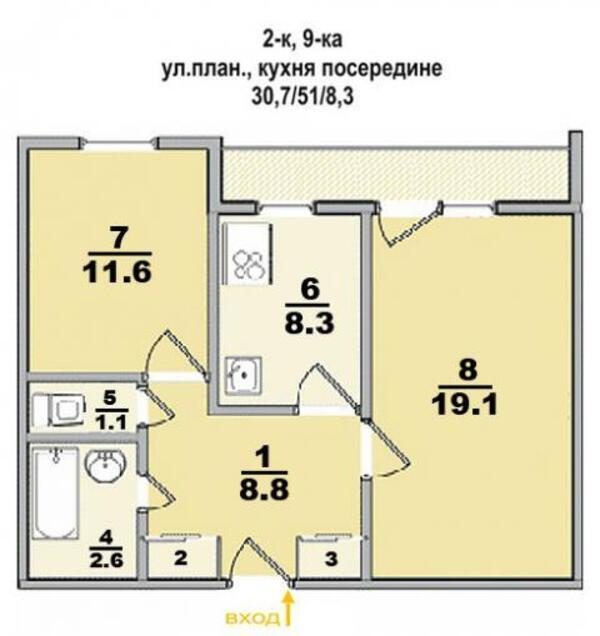 квартиру, 2 комн, Харьков, Рогань жилмассив, Грицевца (463898 1)