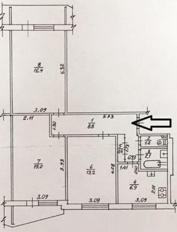 2 комнатная квартира, Харьков, Павлово Поле, 23 Августа (Папанина) (468864 1)