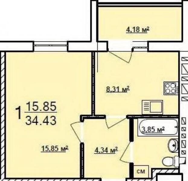 1 комнатная квартира, Харьков, Новые Дома, Московский пр т (480651 1)