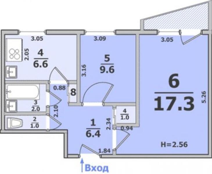 3 комнатная квартира, Харьков, Салтовка, Барабашова (490839 1)