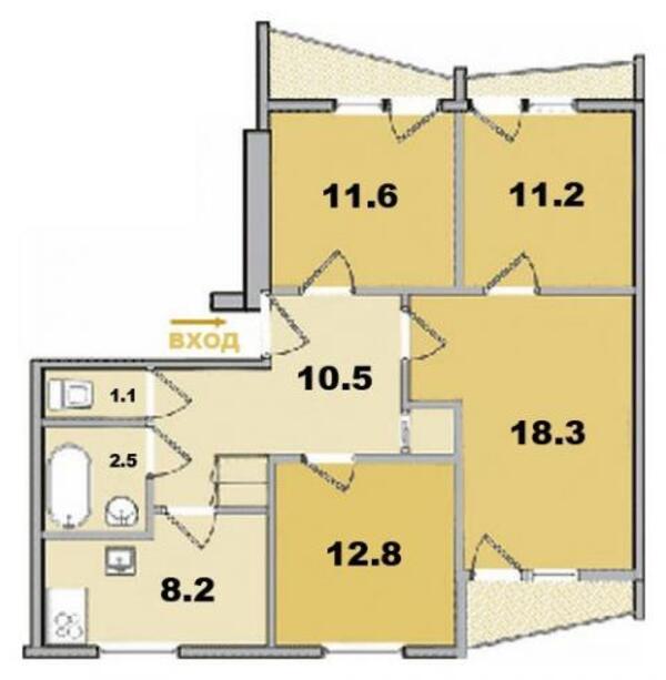 3 комнатная квартира, Харьков, Салтовка, Гвардейцев Широнинцев (495156 1)