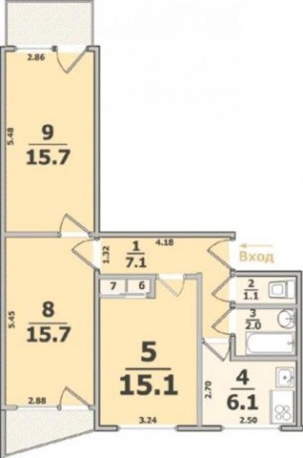 3 комнатная квартира, Харьков, Салтовка, Гвардейцев Широнинцев (495281 1)
