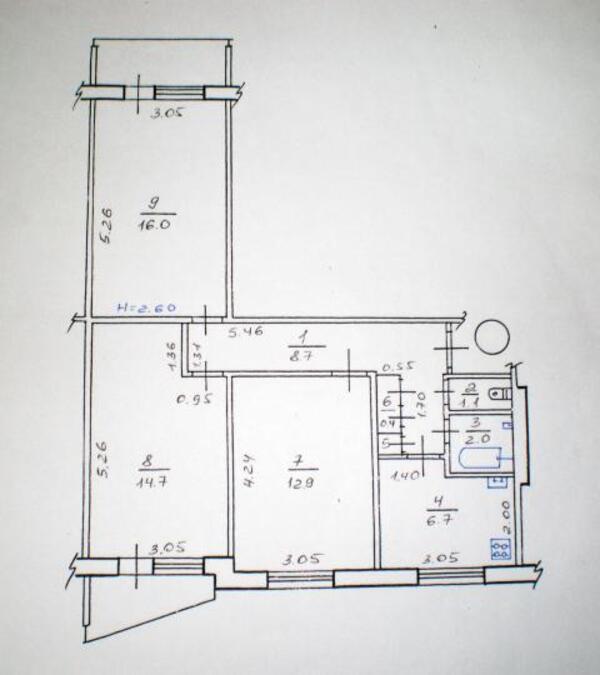 2 комнатная квартира, Харьков, Салтовка, Валентиновская (Блюхера) (499270 1)